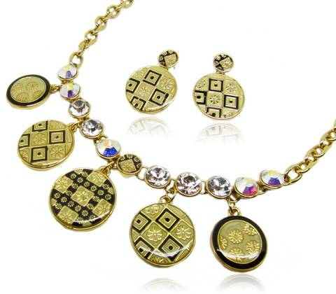 Wholesale Sweet honey honey style fashion jewelry set with crystal aurore boreale &crystal moonlight
