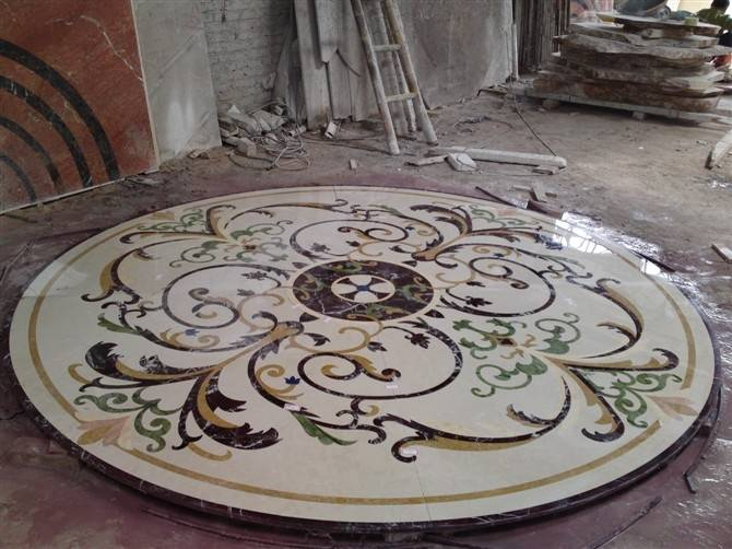 Waterjet marble tiles design floor pattern,hotel marble waterjet medallion
