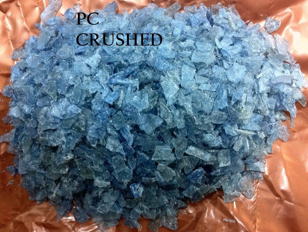 Recycled PC of crushed blue water drums