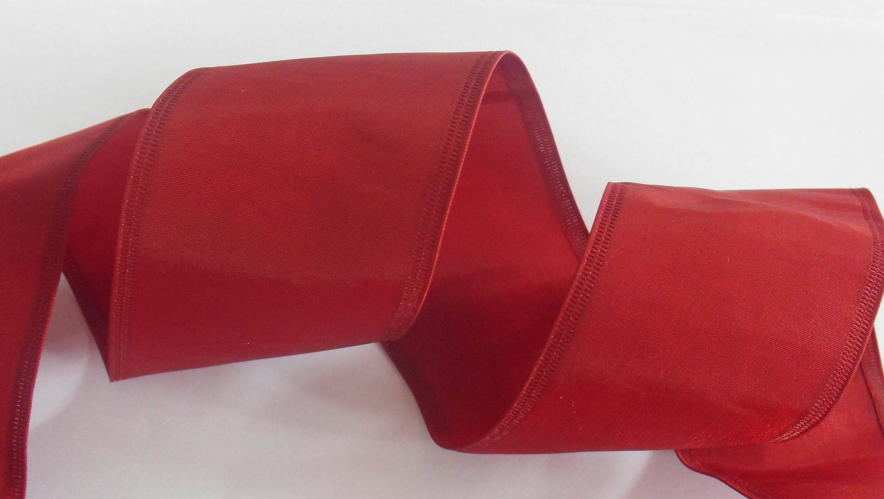 red taffta fabric ribbon with sonic pressing wire edge