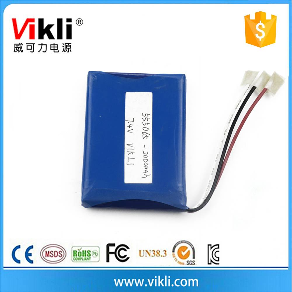 3.7V lithium ion polymer battery with capacity 2000mah