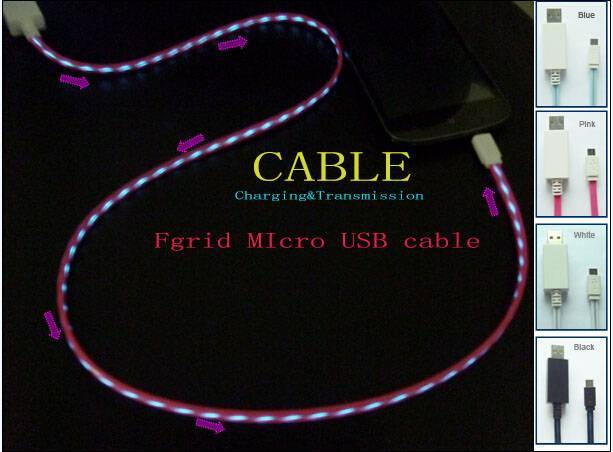 EL Visible current chasing flowing Lighting Micro USB 2.0 Data Sync Charger Charging Cable for Samsu