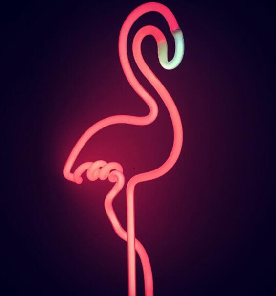 Hign Quality Neon Sculpture Real Glass Tube Flamingo Neon Night Lamp DC5V Neonlights Sign Handcrafte