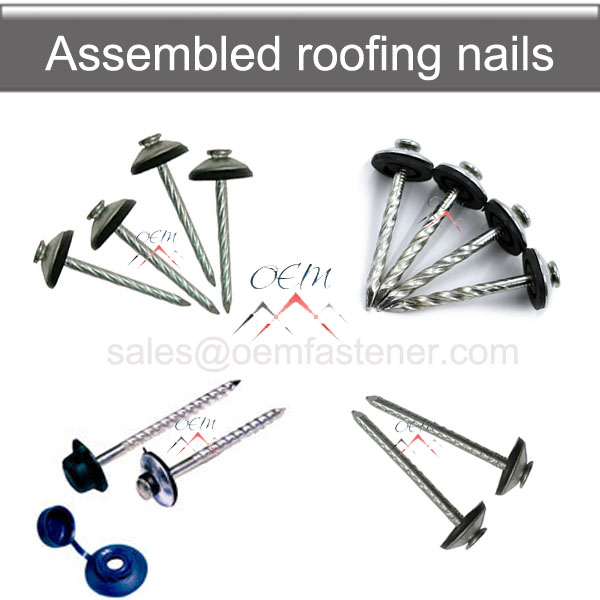 Assembled roofing screw nails