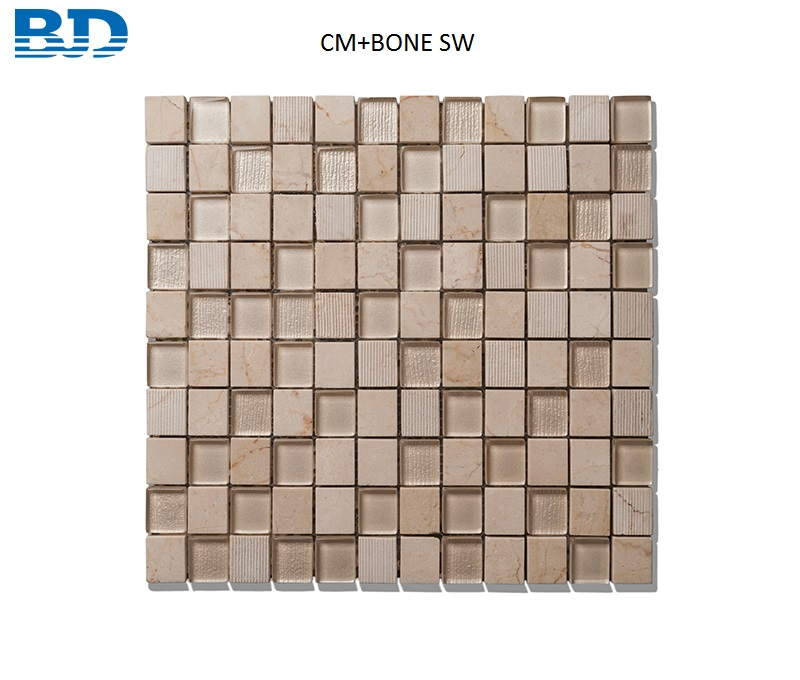 Time Texture Square Stone and Glass Mosaic (Beige)