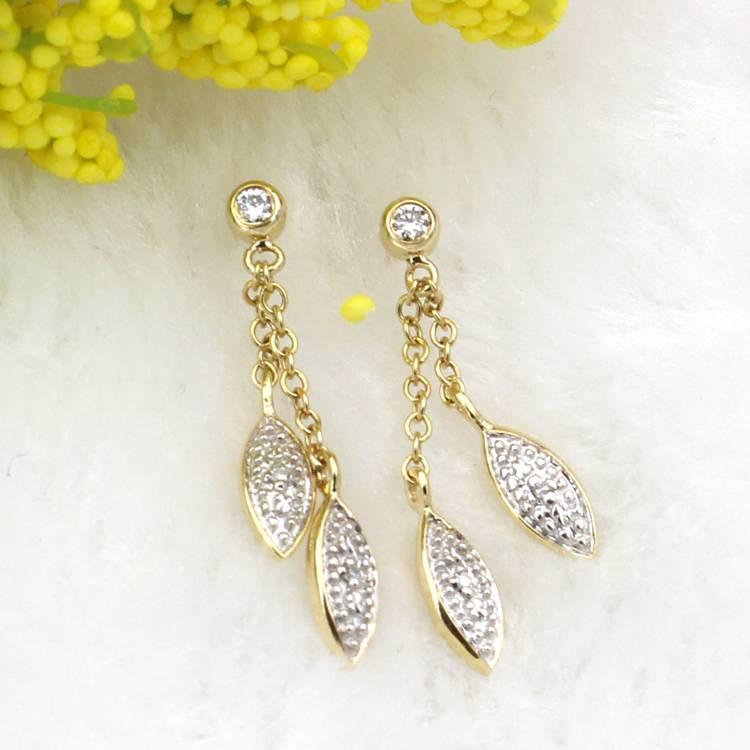 Fancy Marquise Drop Diamond Dangle Earrings in 9ct yellow gold