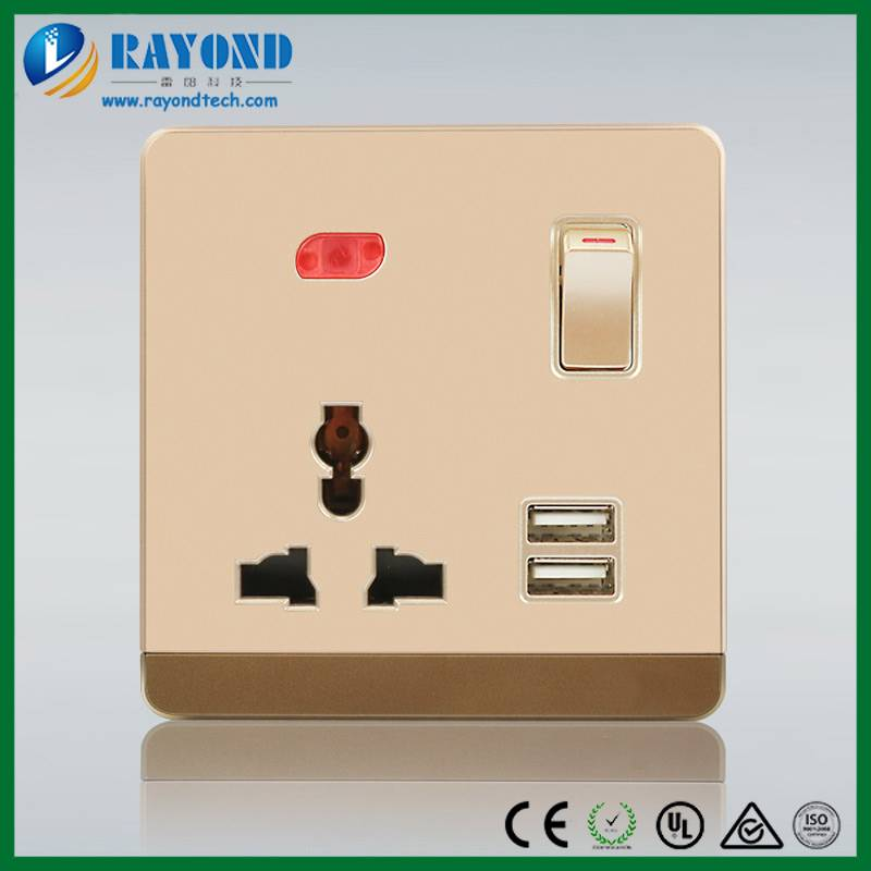 Hotel Favorite Convenient Universal USB Charger Switched Neon Wall Socket for Plugs Used Worldwide