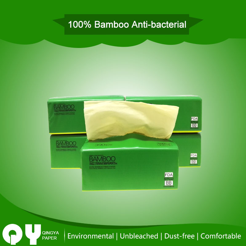 natrual bamboo unbleached soft facial tissue paper
