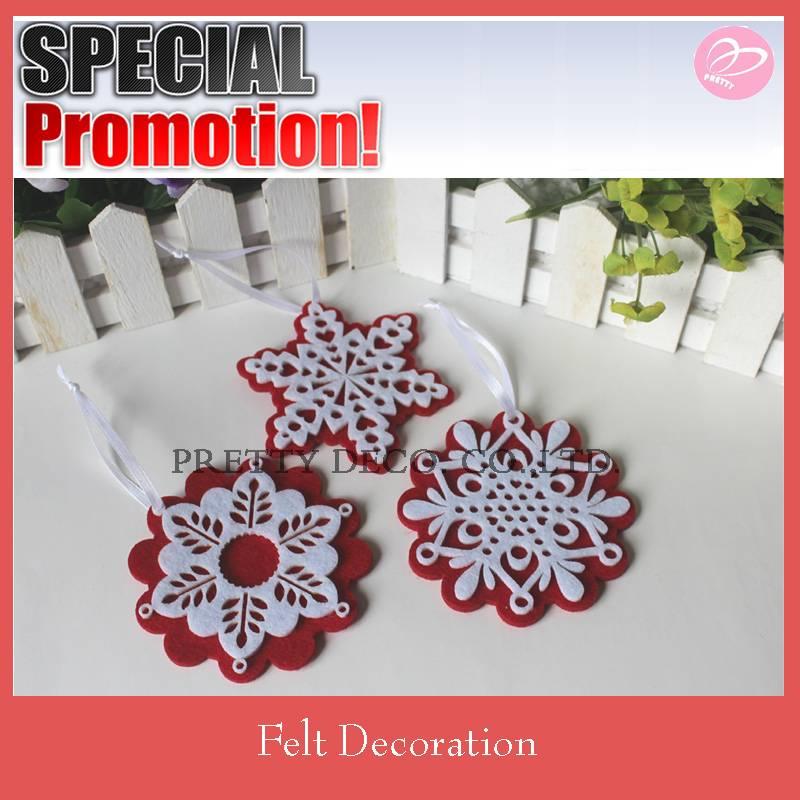Snowflake shaped felt christmas hanging decorate