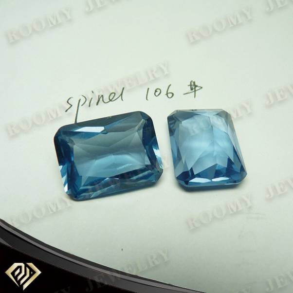 factory price top quality emerald cut blue spinel #106 synthetic gemstone