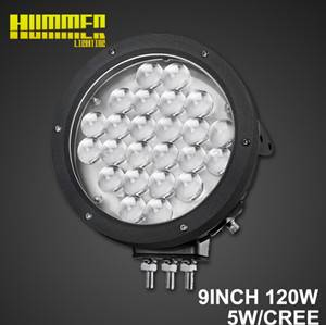 9''120W led work light , off road Round led driving work light