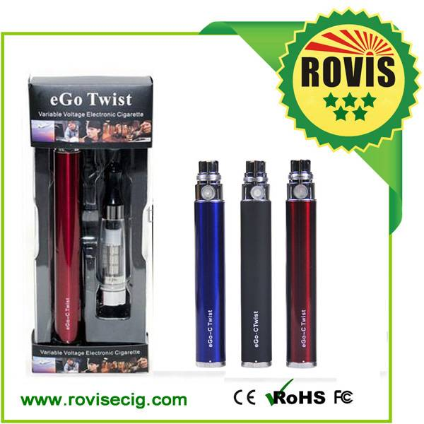Best selling and high quality variable voltage battery ego twist e cigarettes with ce4, ce5 clearomi