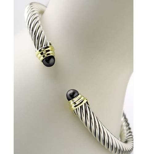 Sterling Silver DY 5mm Black Onyx Color Classics Bracelet