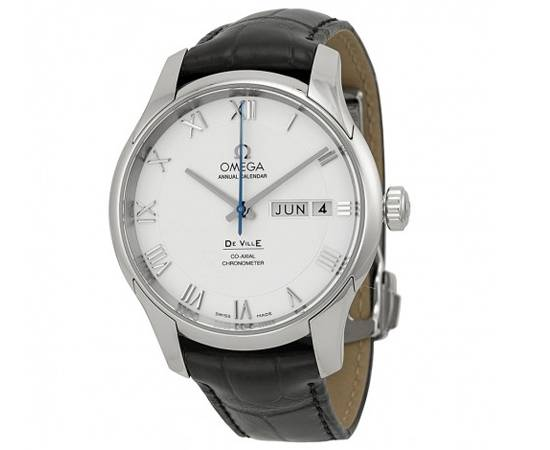 OMEGA De Ville White Dial Black Leather Automatic Men's Watch