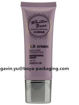 BB skin cream cosmetic tube container with the flat top metalized cap