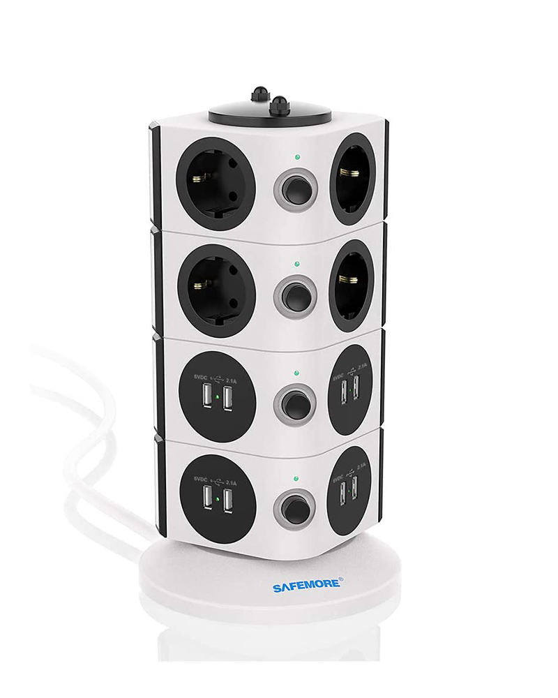Safemore Vertical UK Power Strip with 8 USB Ports Charging