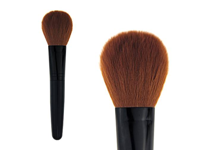 Black Makeup Contour Blush Brush With Bulb Shaped Synthetic Hair Aluminum Ferrule