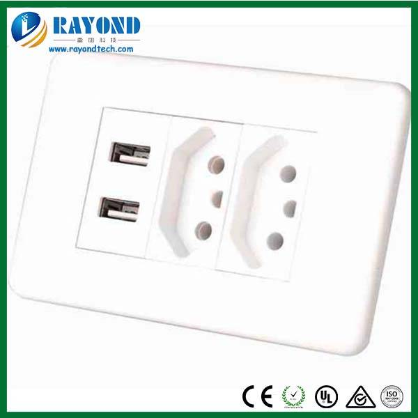 Electrical Accessories Double Brazillian/ Swiss 5V/2.1A USB Charging Electrical Wall Socket