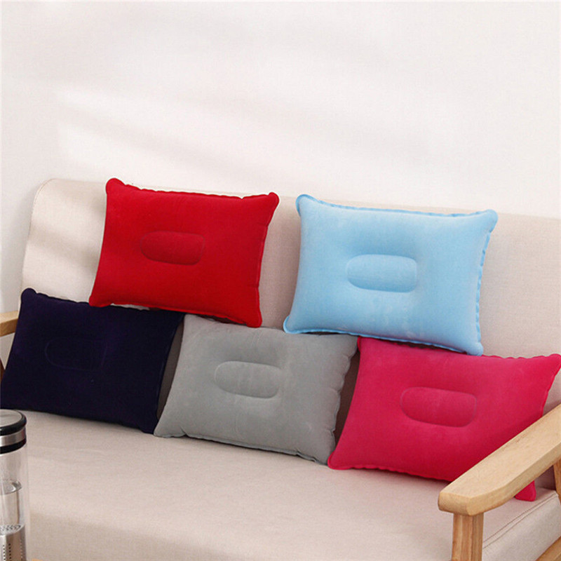 Portable Pillow Travel Air Cushion Inflatable Double Sided Flocking Cushion