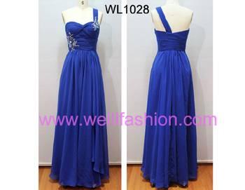 Long Applique Pleated Chiffon Evening Dresses WL1028