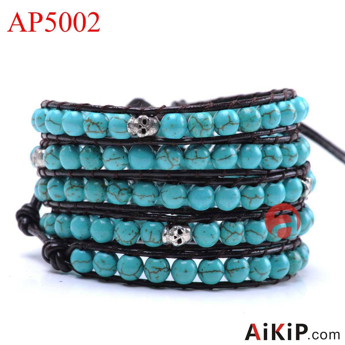 round turquoise alloy skull leather steel clasp bracelet
