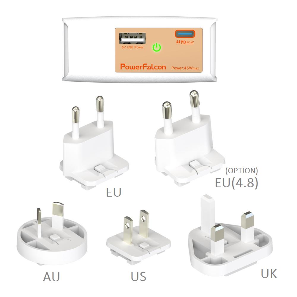 PowerFalcon 45W PD dual port (USB-C+USB-A) charger / interchangable