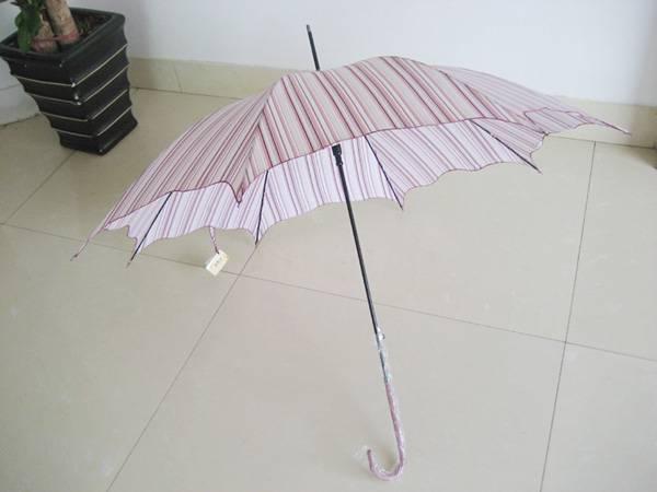 Straight Auto Pongee Stripe with Binding Umbrella