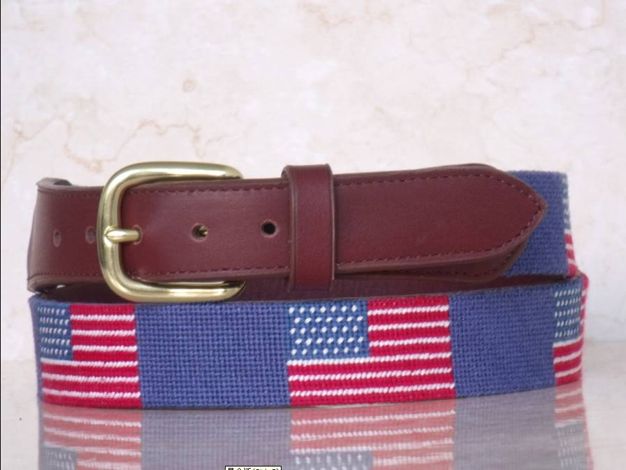Needlepoint Belts with Solid Brass Buckle Made of Genuine Leather New Style Suitable for Women