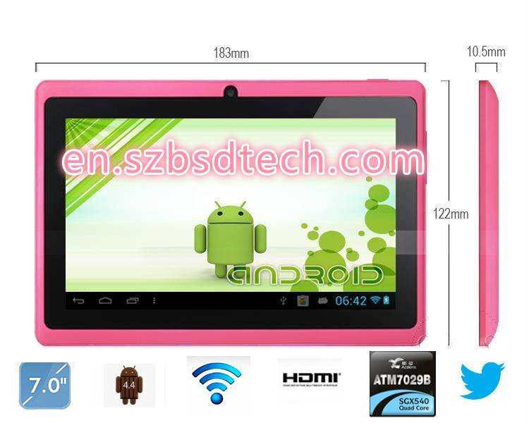 7 inch tablet pc with Q88,Dual core allwinner a23,android system