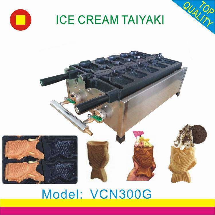 ice cream taiyaki machine/fish shape taiyaki waffle maker/taiyaki baker pan with grill for sale