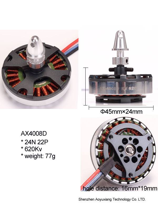 Hot sales brushless dc motor AX4008D 620Kv for hobby rc toy quadrocopter