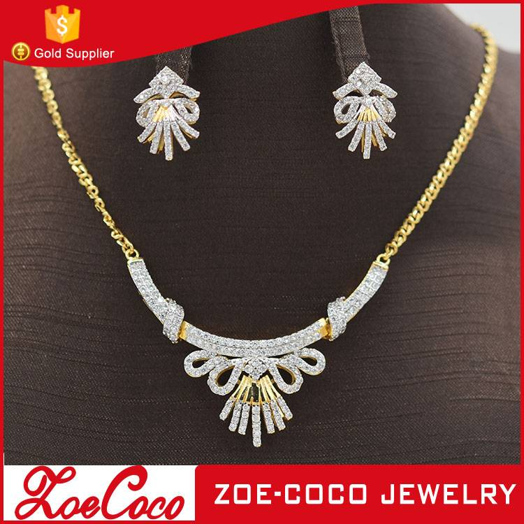 New fashion zircon copper alloy with gold plated jewelry set
