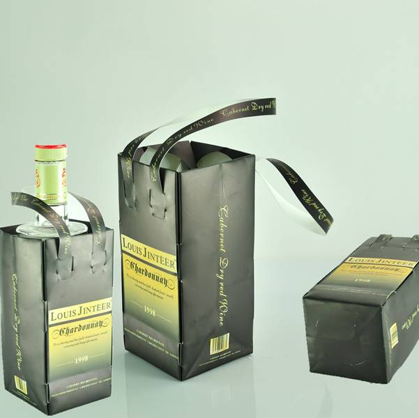 wholesale recyclable stone paper wine bag