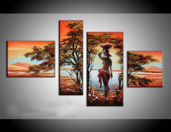 100% hand-painted golden naked woman walk under the tree wall art home decoration oil painting on ca