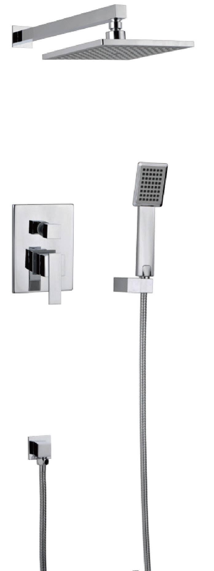 Contemporary chrome brass rainfall bathroom concealed mixer faucet