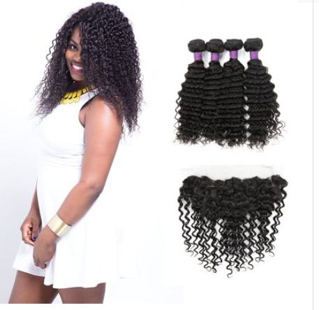 [9A]4 Bundles Malaysian Deep Wave Hair Weave With Lace Frontal