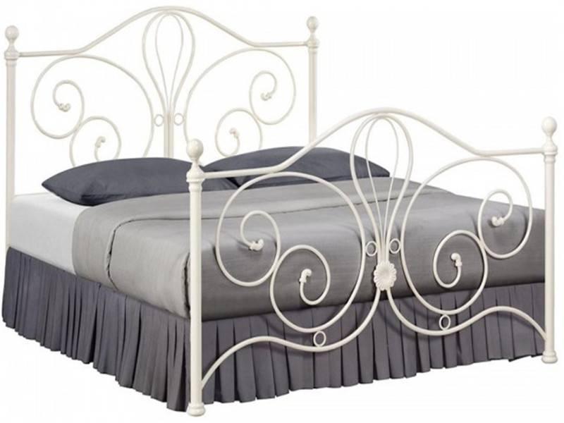 high quality cheap modern european style double metal bed frame, cream