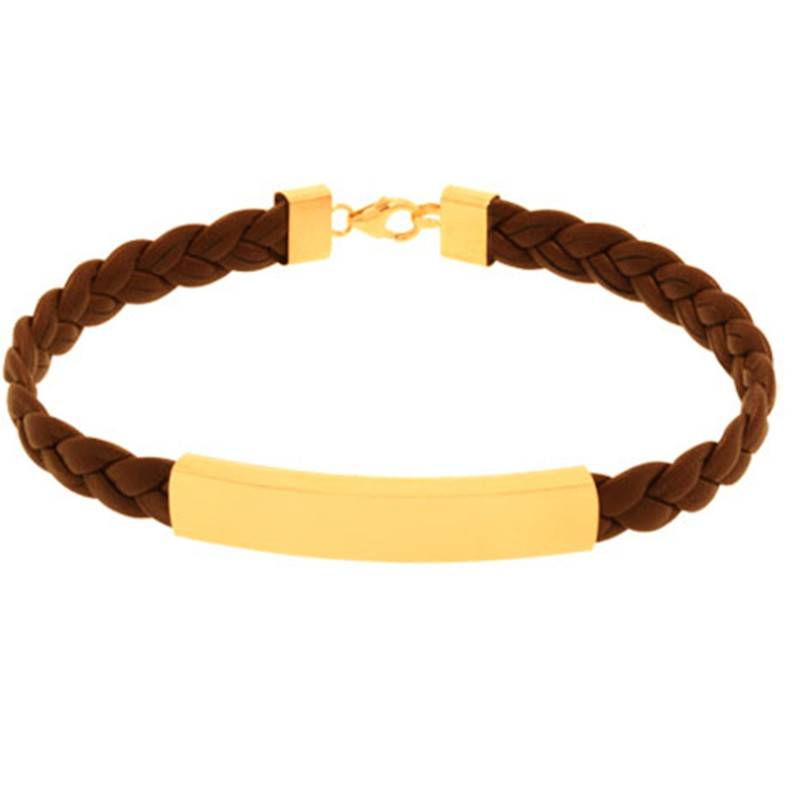 Fashion Golden Plating Jewelry Stainless Steel Leather Bracelet (BC8844)