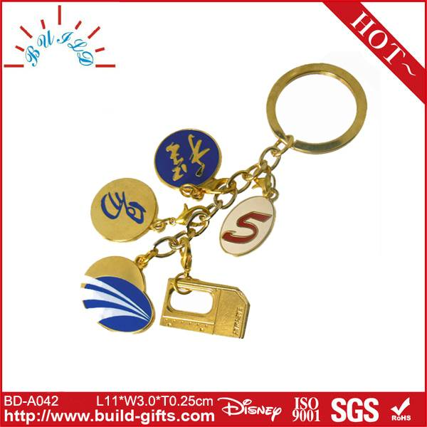 key chain cable golden key chain