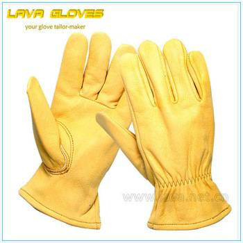 Cowskin Leather Cuff Hand Gloves
