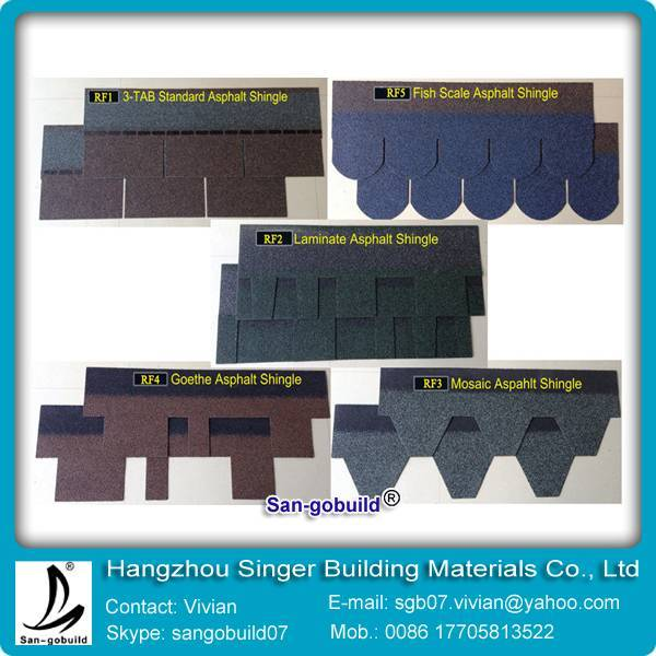 chinese colorful asphalt shingles available price
