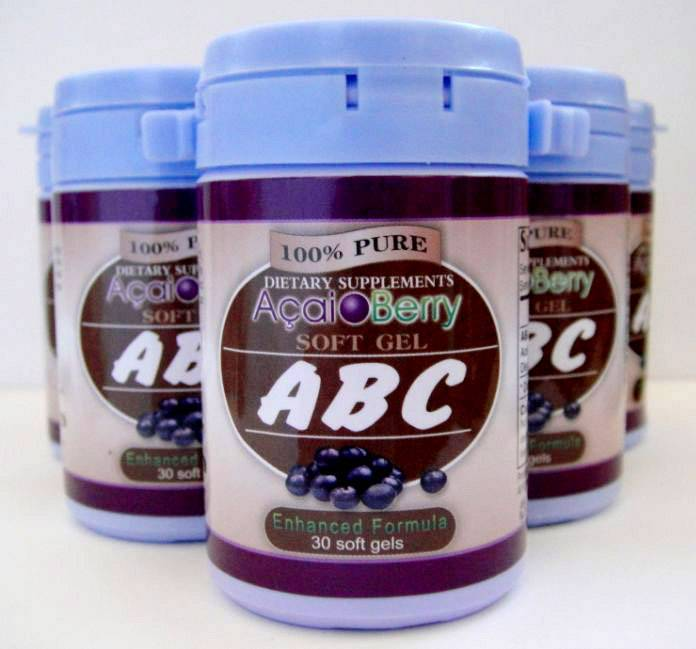 100% pure dietary supplement abc acai berry soft gel