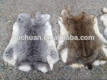 Rabbit Fur Natural Grey Real Fur Throw Blanket