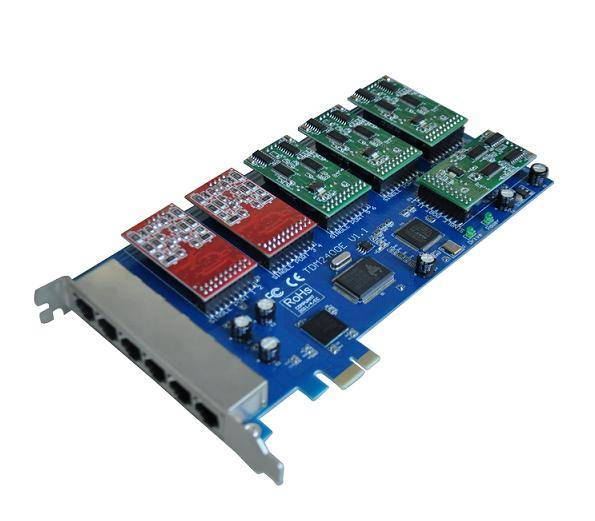Wonder analog card with 12 dual fxo/fxs pci-e for telephony