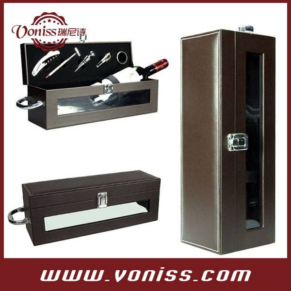 Wine Carrier Leather Bag Wine Bottle Show Box Wine Leather Holder With Transparent Windows Wine Tool