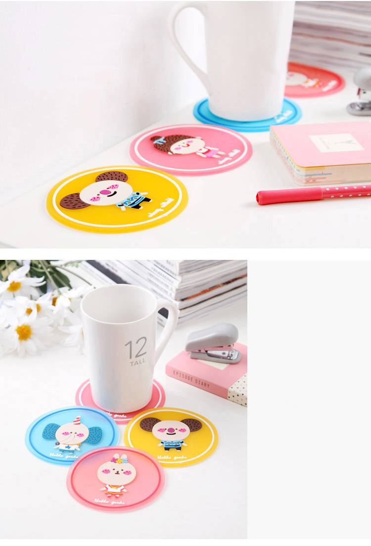 2015 hot sale rubber PVC heat-resistant mats tea cup set coffe coaster set cup pad