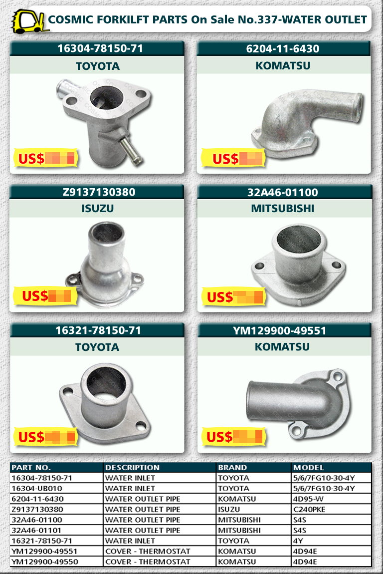 Cosmic Forklift Parts On Sale No.337-WATER INLET
