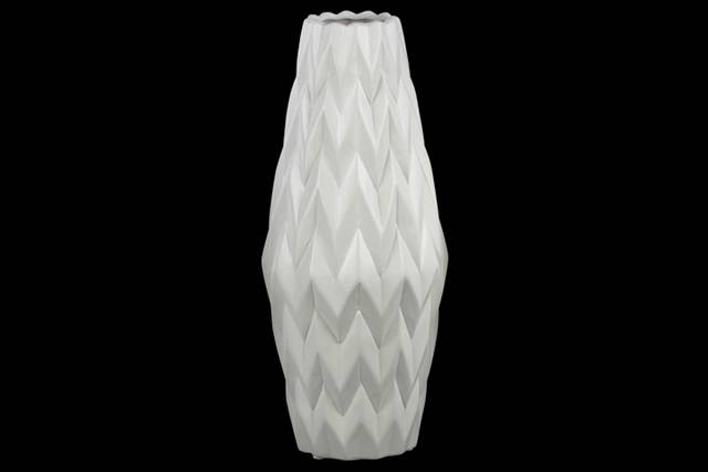 Ceramic Rounded Bellied Vase with Round Lip and Embossed Wave Design