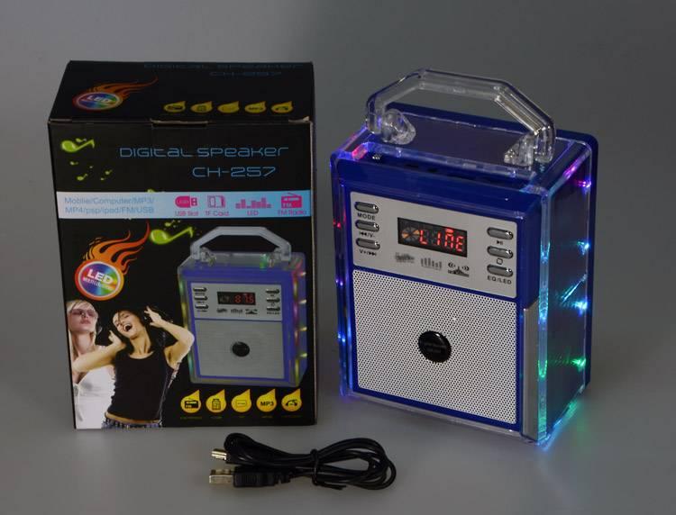 LED lamp support TF card FM Mini Speaker Munual , Motivity Speaker , Portable Stereo Digital Speaker