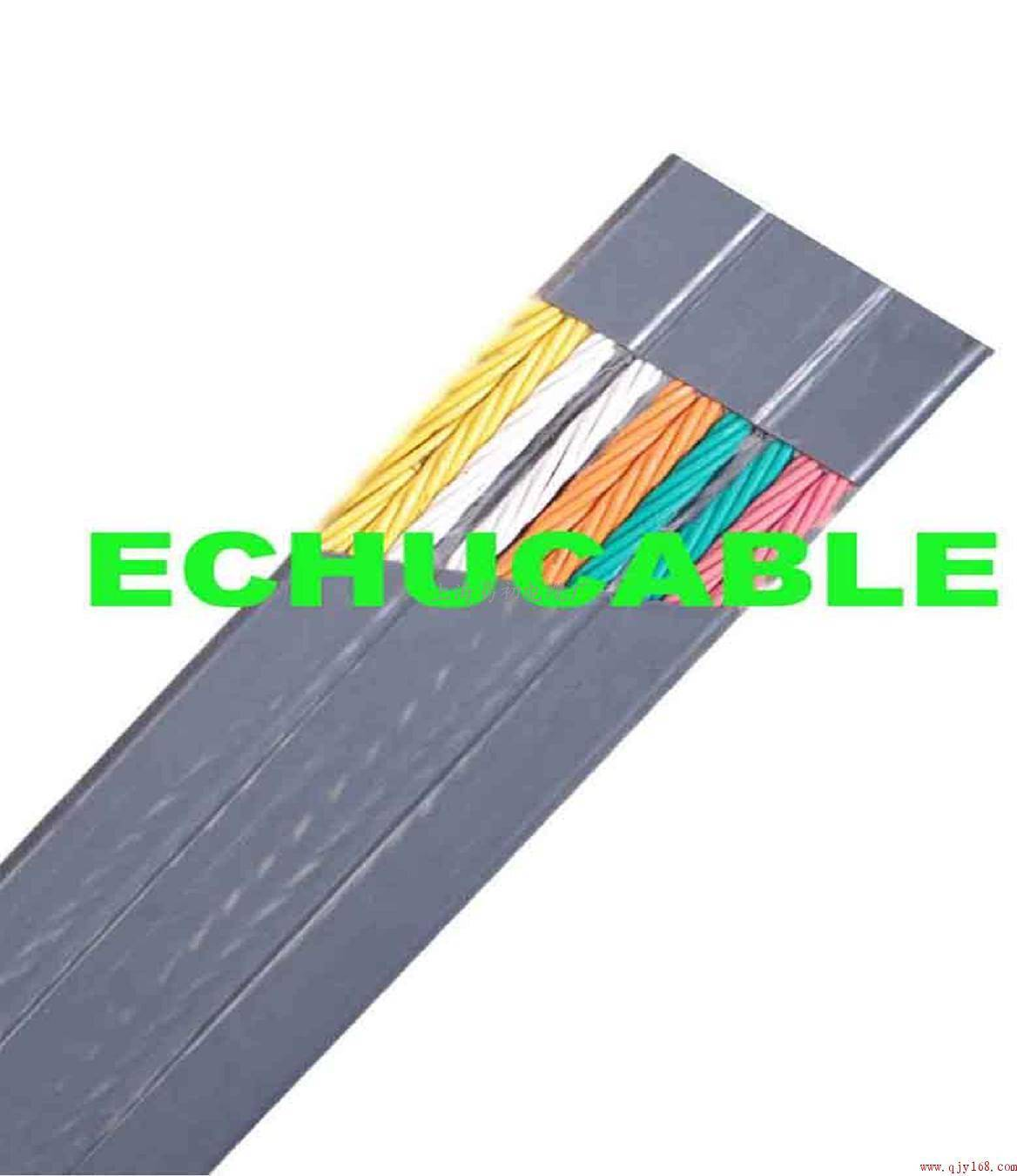 Flat traveling cable with steel supporting